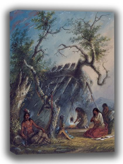 Miller, Alfred Jacob: Indian Lodge. Fine Art Canvas. Sizes: A4/A3/A2/A1 (003831)